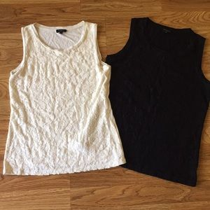 Talbots Lace Cami Tank Tops Sz Small Ivory & Black
